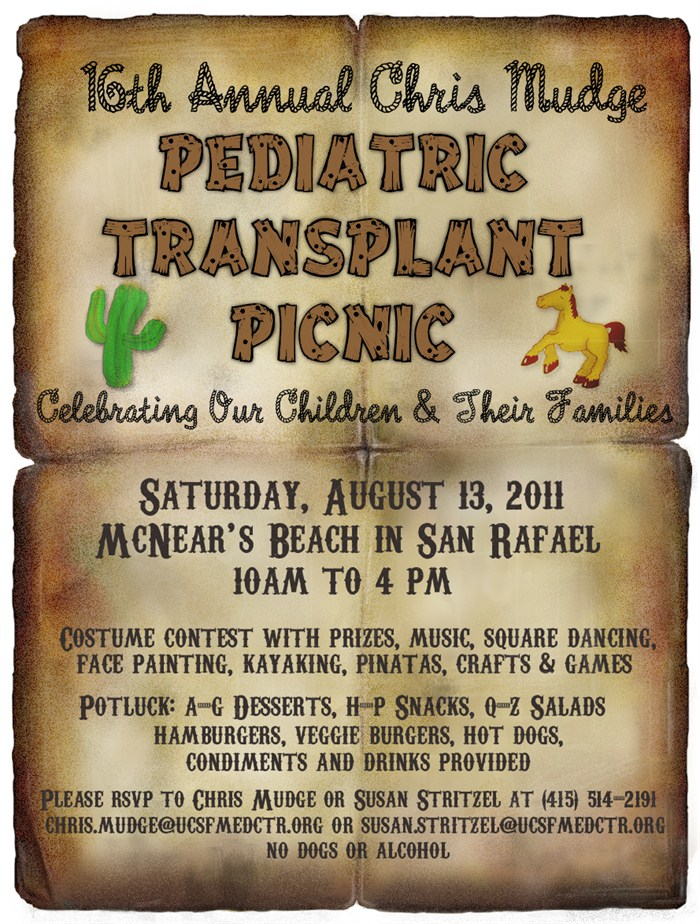 2011 Pediatric Transplant Picnic Flyer